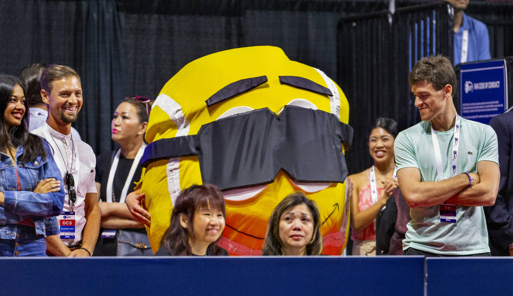 One of several tennis ball mascots visits with fans as the Vegas Rollers battle the Philadelphi ...
