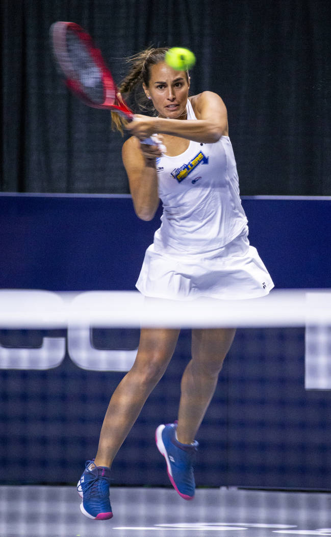 The Vegas Rollers' Monica Puig returns a volley during her women's singles set versus the Phila ...