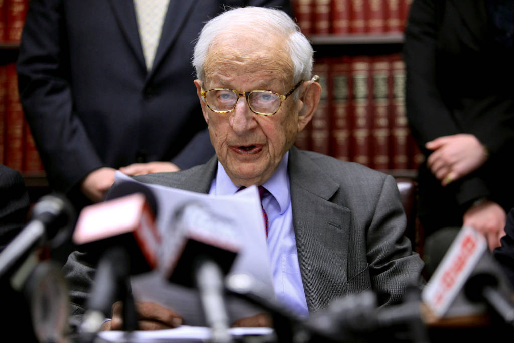 Manhattan District Attorney Robert Morgenthau speaks during a press conference in New York in D ...