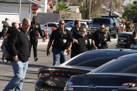 Las Vegas police investigate a barricade situation in the 5400 block of South Maryland Parkway ...