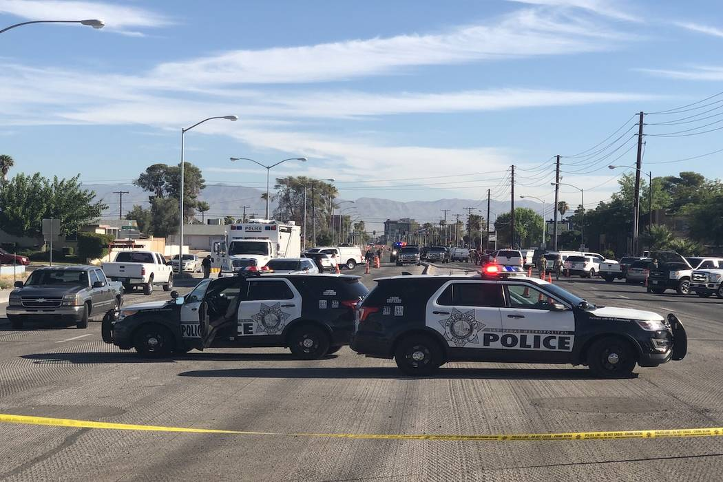 Metropolitan Police Department vehicles at a barricade situation in the 5400 block of South Mar ...