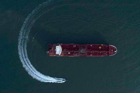 In this Sunday, July 21, 2019 photo, an aerial view shows a speedboat of Iran's Revolutionary G ...