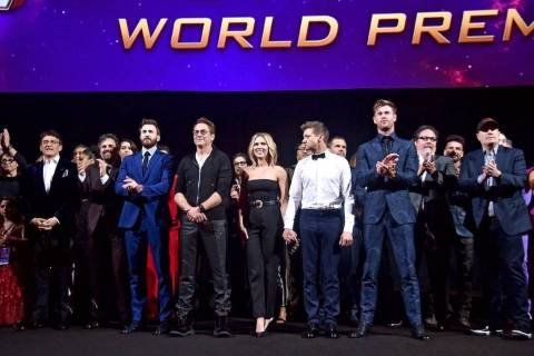"The cast of ""Avengers: Endgame"" poses at the world premiere. (Avengers/Facebook)"