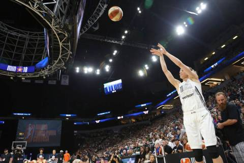 Chicago Sky guard Allie Quigley shoots during the Three-Point Contest in the WNBA All-Star bask ...