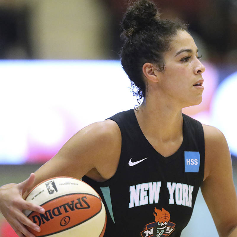 New York Liberty's Kia Nurse #5 in action against the Los Angeles Sparks during a WNBA basketba ...