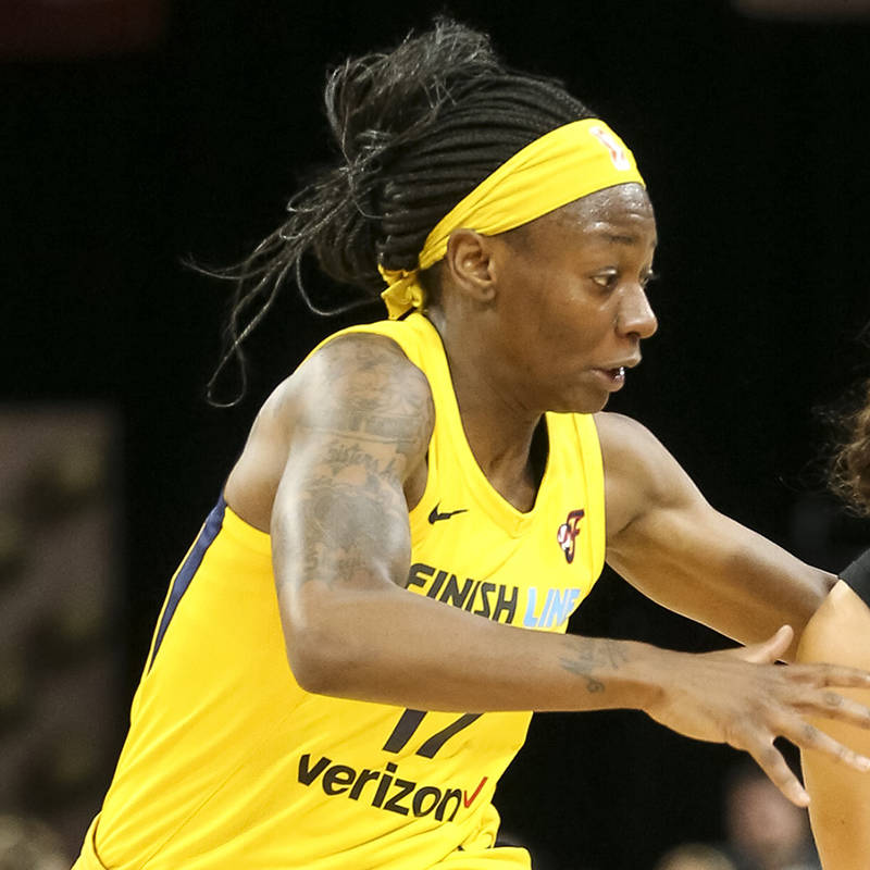 Las Vegas Aces guard Kelsey Plum (10) drives the ball past Indiana Fever guard Erica Wheeler (1 ...