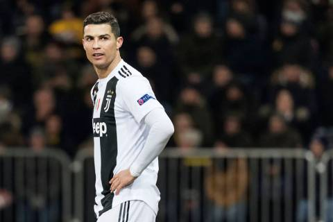Juventus' Cristiano Ronaldo reacts during the Champions League match at the Stade de Suisse in ...