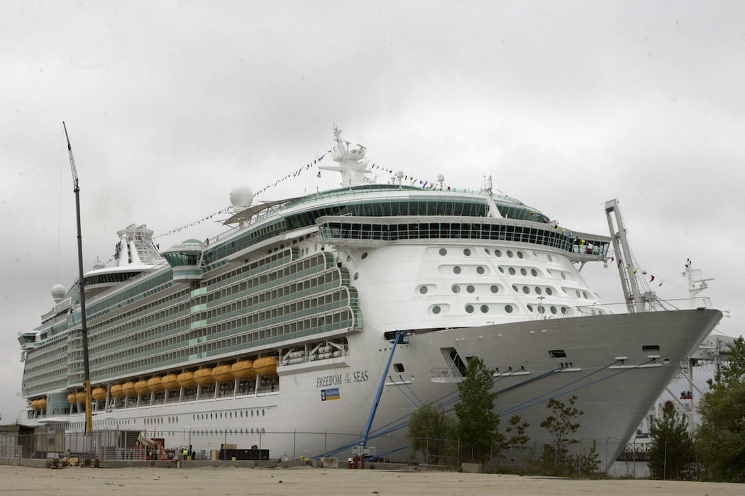 This May 11, 2006 file photo shows the Freedom of the Seas cruise ship docked in Bayonne, N.J. ...
