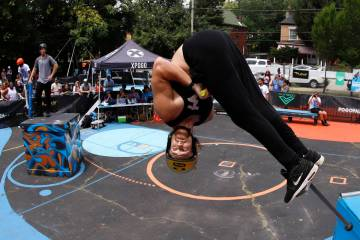 Harry White, of Orillia, Canada, performs in Pogopalooza, The World Championships of Pogo in Wi ...