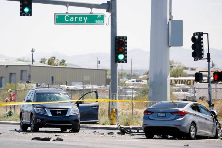 One person was killed in a multivehicle crash at the intersection of Nellis Boulevard and Carey ...