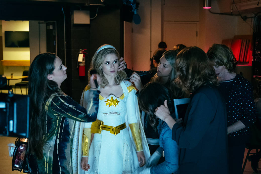 """Erin Moriarty prepares for a public appearance as Starlight in Amazon Prime's """"The Boys."""" (Jan ..."""