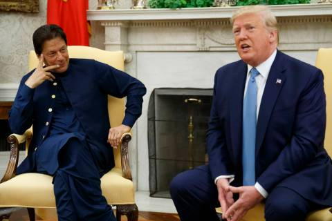 President Donald Trump speaks during a meeting with Pakistani Prime Minister Imran Khan in the ...