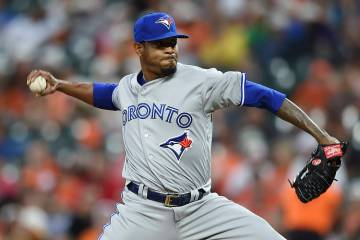 Toronto Blue Jays pitcher Edwin Jackson delivers against the Baltimore Orioles during the third ...