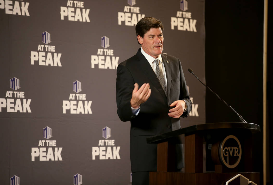 Mountain West commissioner Craig Thompson speaks during conference football media days at Green ...