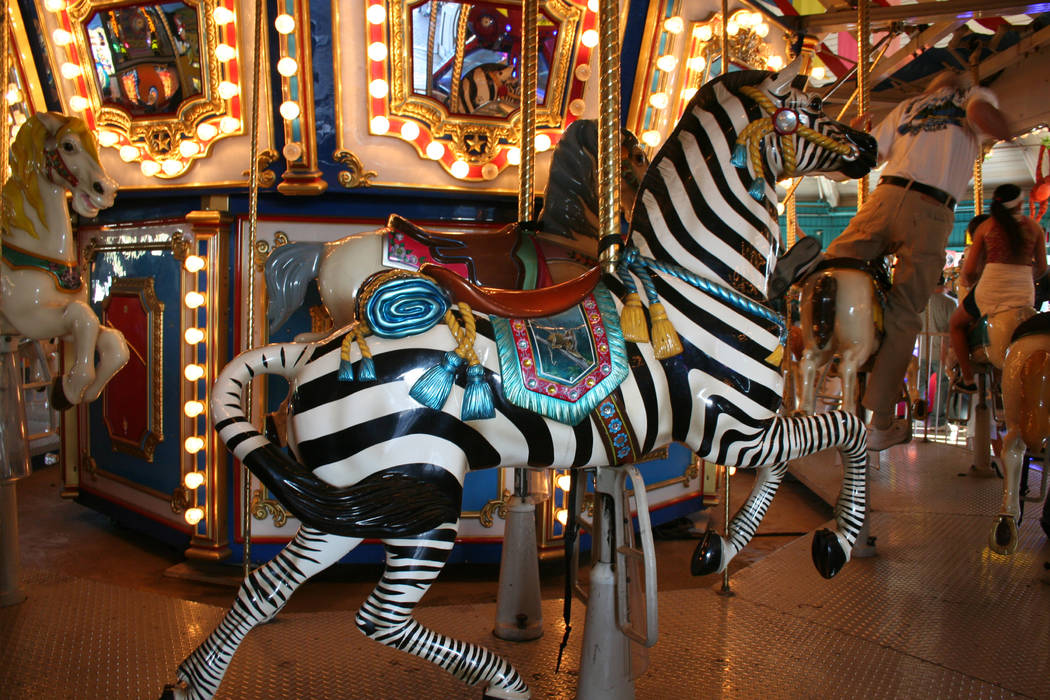 Brightly painted animals, such as this zebra, are a big draw for children who want to ride Shor ...