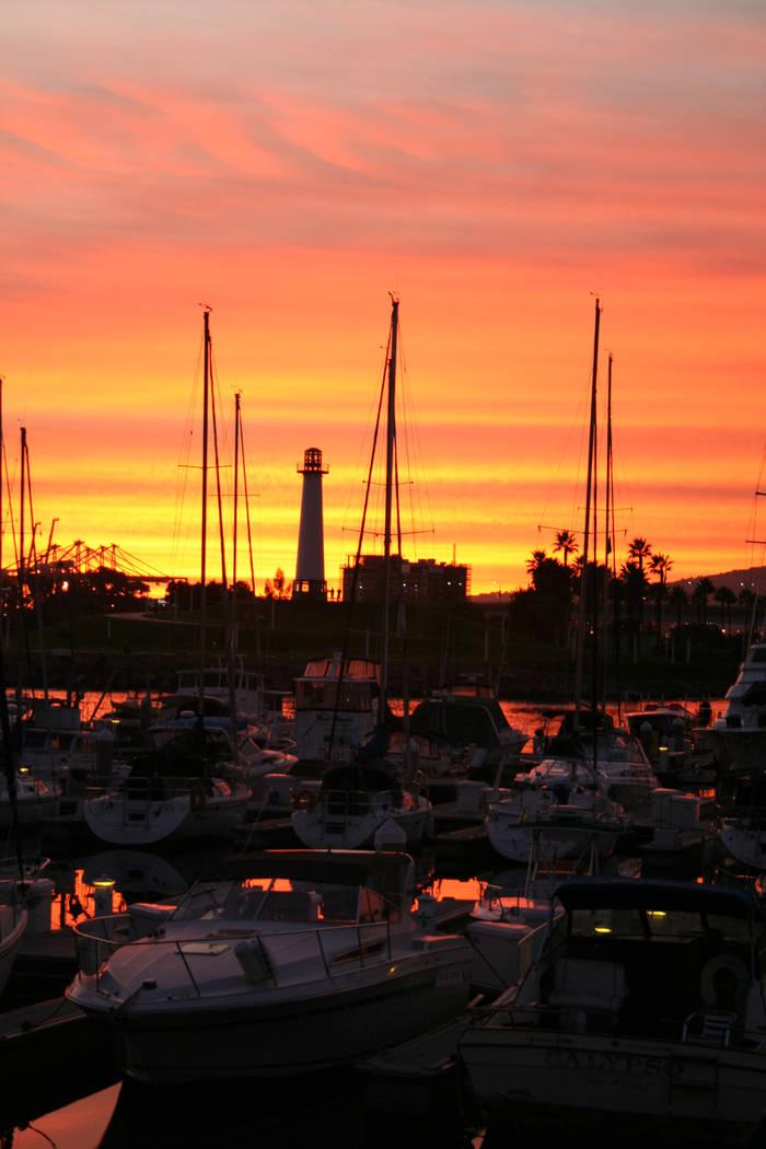 Sunset over the marina in Rainbow Harbor at Long Beach. (Deborah Wall/Las Vegas Review-Journal)