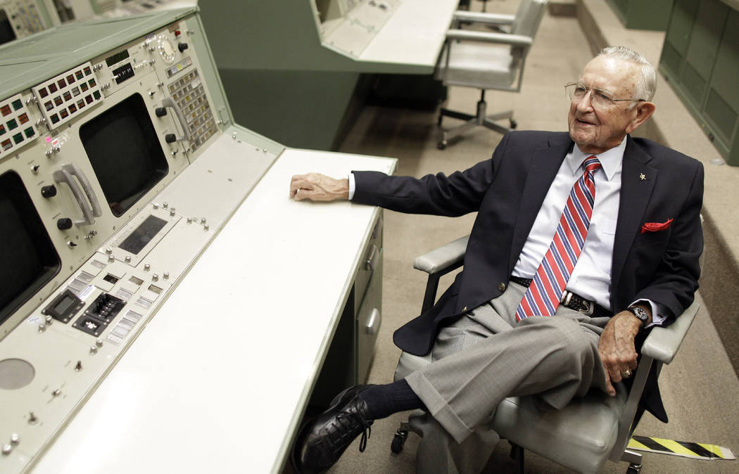FILE - This Tuesday, July 5, 2011, file photo, NASA Mission Control founder Chris Kraft talks a ...