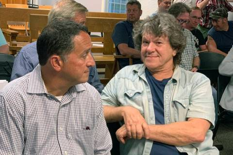 FILE - In this Tuesday, July 16, 2019, file photo, Michael Lang, right, Woodstock 50 co-produce ...