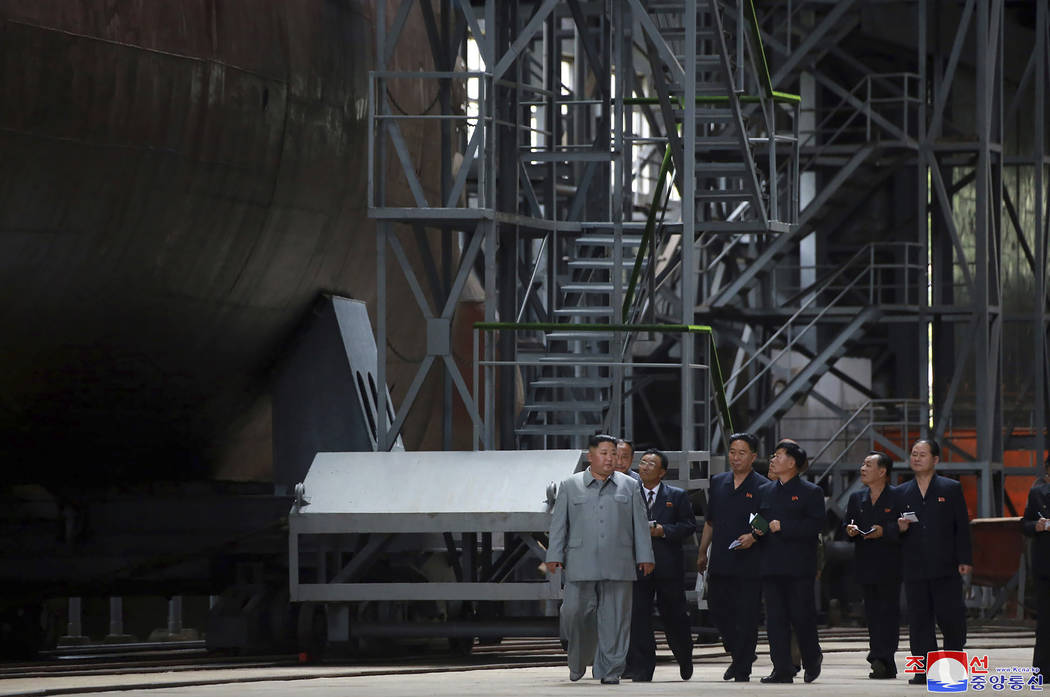 In this undated photo provided on Tuesday, July 23, 2019, by the North Korean government, North ...
