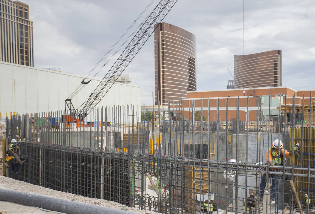 Construction continues on the MSG Sphere at The Venetian on Tuesday, July 23, 2019, in Las Vega ...