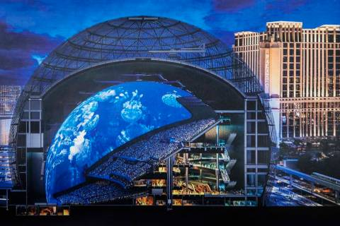A composite of the MSG Sphere at The Venetian slated for completion in 2021 on Tuesday, July 23 ...