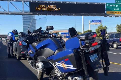 Nevada Highway Patrol troopers gave out 518 citations for high occupancy vehicle lane violation ...