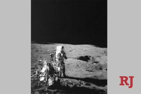 In this Feb. 6, 1971, file photo, Apollo 14 Astronaut Alan B. Shepard Jr., who hit three golf b ...