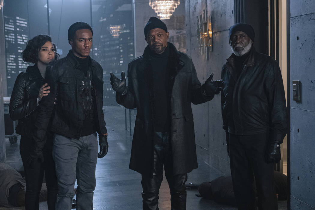 This image released by Warner Bros. Pictures shows from left, Alexandra Shipp, Jessie Usher, Sa ...