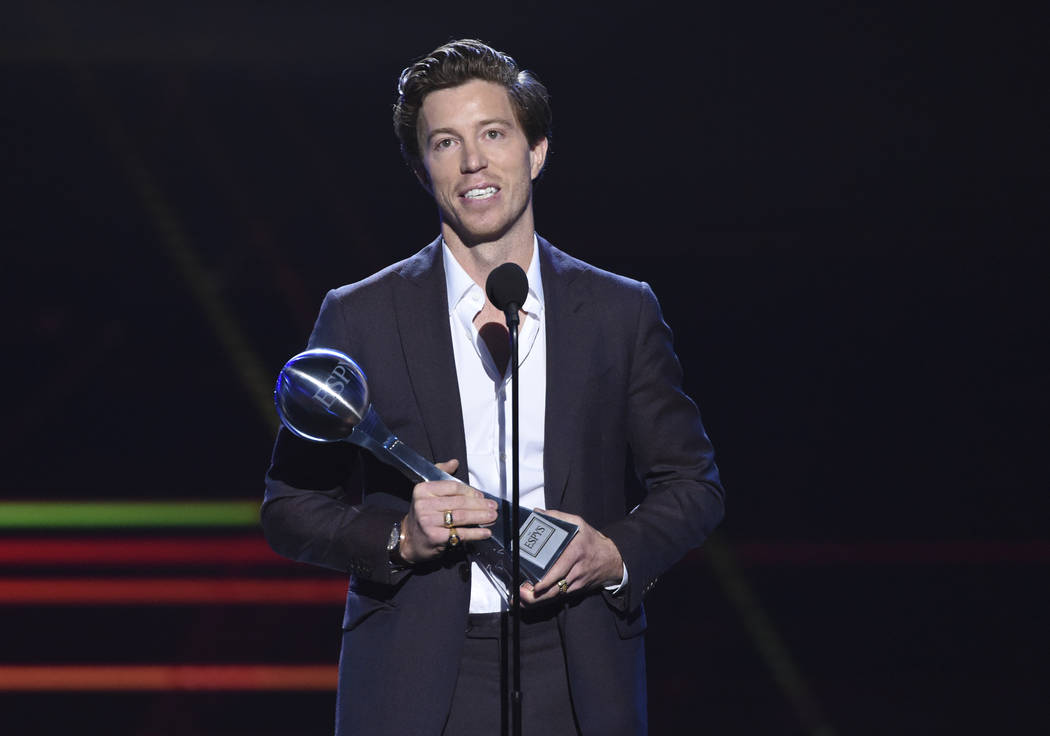 Shaun White accepts the award for best Olympic moment, at the ESPY Awards in Los Angeles on Ju ...