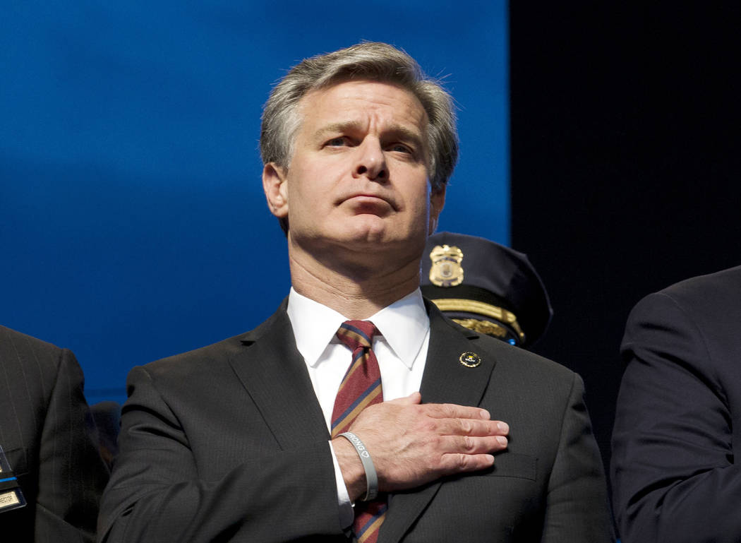 FILE - In this May 13, 2019, file photo, FBI Director Christopher Wray attends the National Law ...