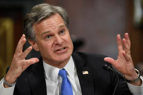 FBI Director Christopher Wray testifies before the Senate Judiciary Committee on Capitol Hill i ...
