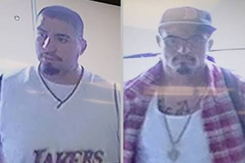 North Las Vegas police released a description and surveillance photos of two suspects who took ...