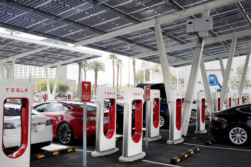 Tesla models use V3 Supercharging at Tesla's largest Supercharger station now open near the Hig ...