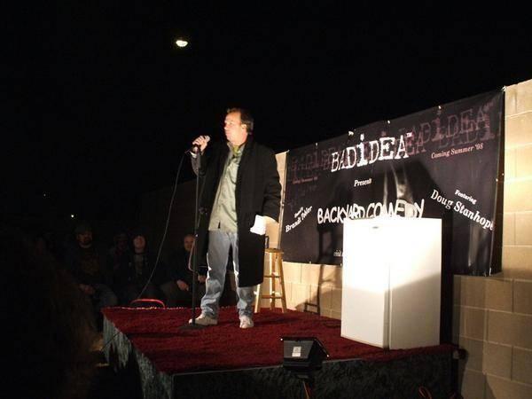 Doug Stanhope, shown performing in the Henderson backyard of comedian Brandt Tobler in 2017, ha ...