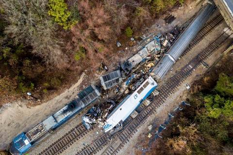 A Feb. 4, 2018, file photo shows an aerial view of the site of a fatal train crash between an A ...