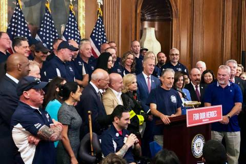 Entertainer and activist Jon Stewart, speaks at a news conference on behalf of 9/11 victims and ...