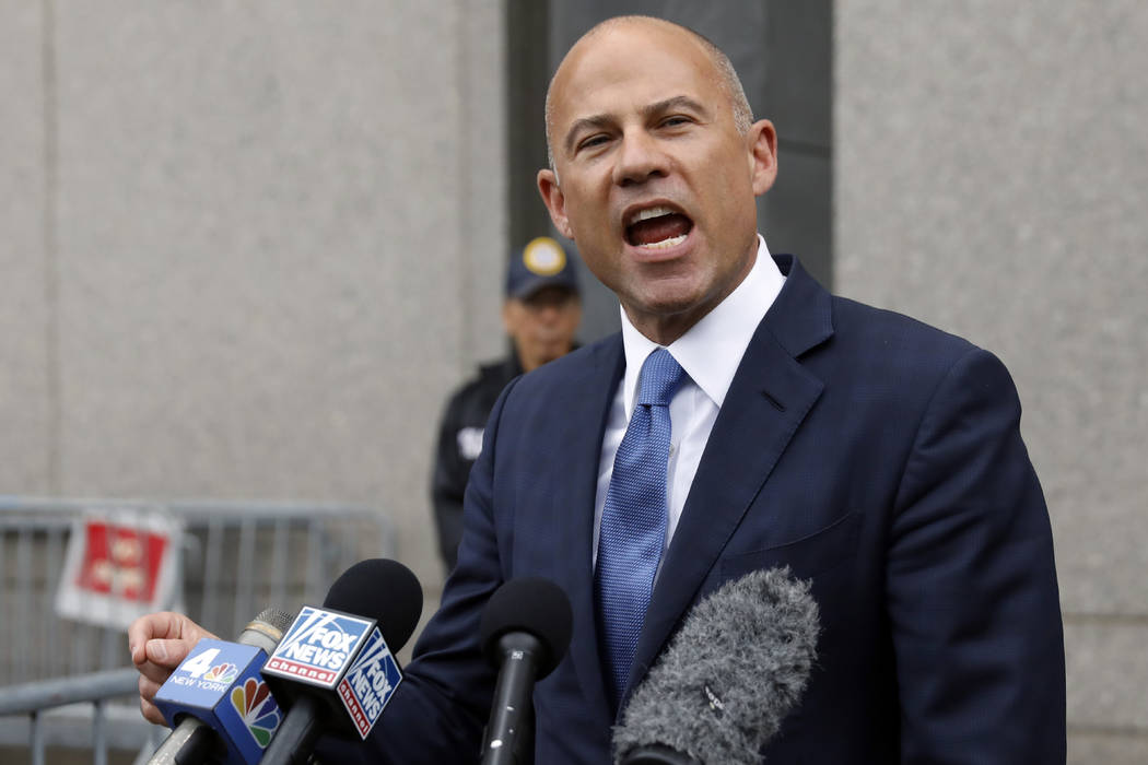 Michael Avenatti makes a statement to the press as he leaves federal court, in New York, Tuesda ...