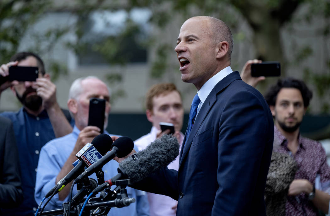 California attorney Michael Avenatti makes a statement to the press after leaving a courthouse ...