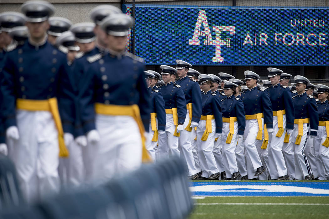 FILE - In this May 30, 2019 file photo, Air Force Cadets arrive at the 2019 United States Air F ...