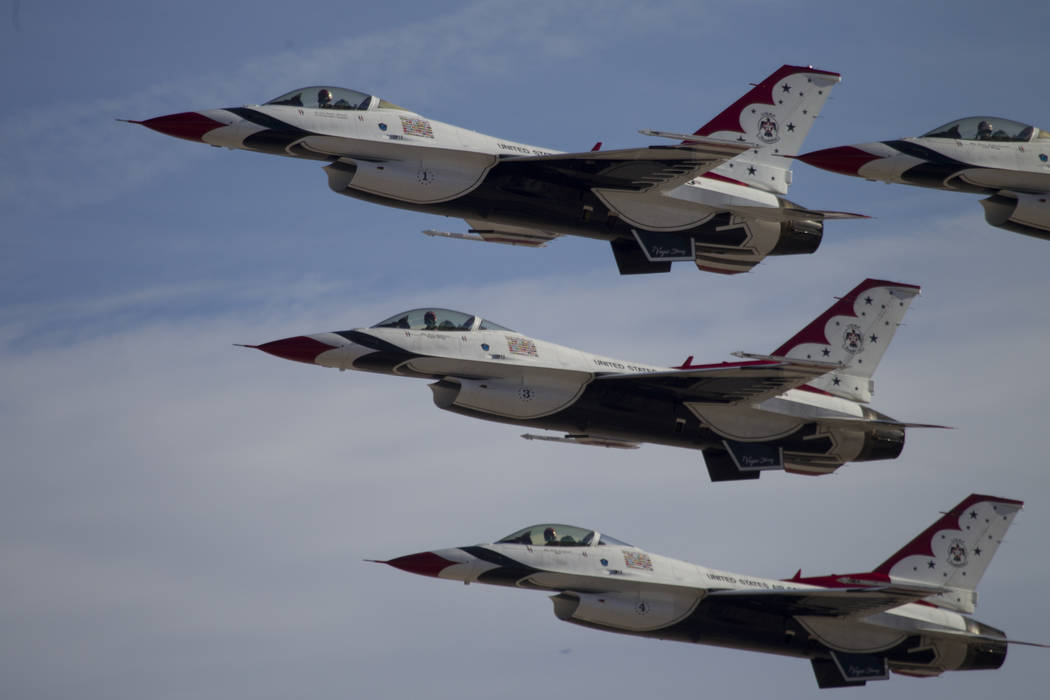 The Thunderbirds perform during Aviation Nation at Nellis Air Force Base in Las Vegas, Saturday ...