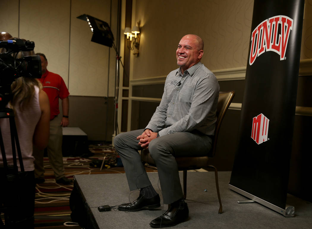 UNLV Rebels head coach Tony Sanchez talks to reporters during Mountain West football media days ...