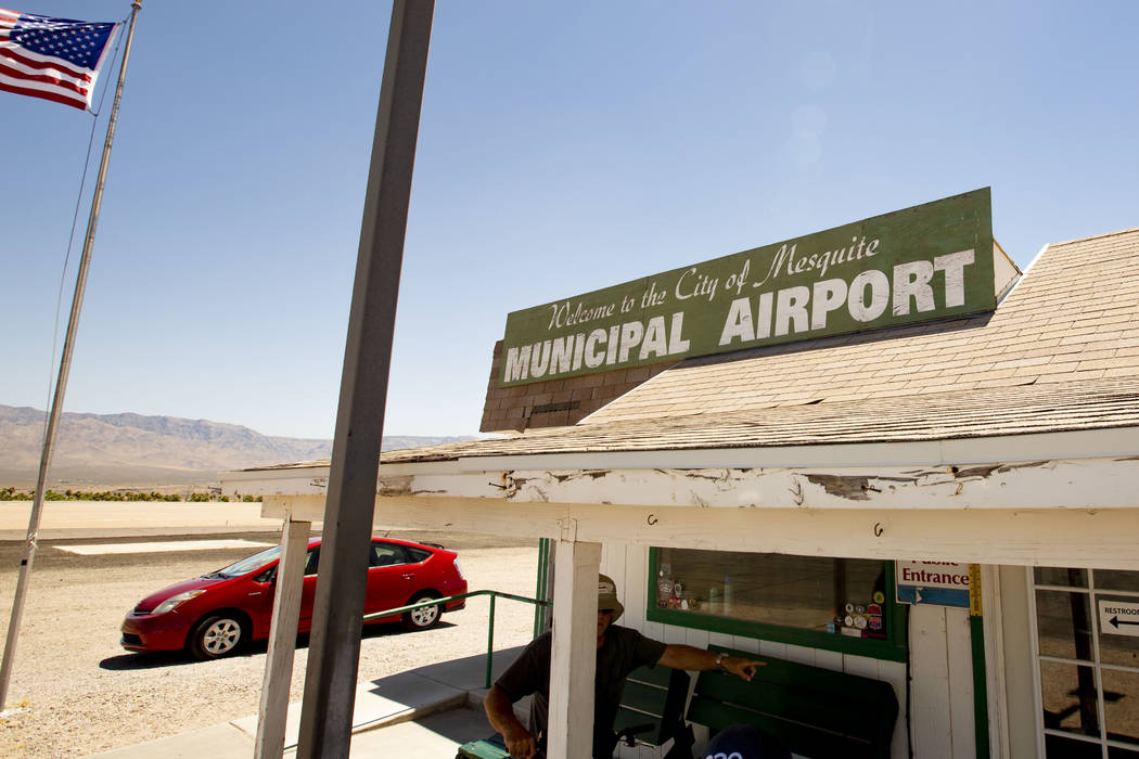The entrance to the Mesquite Municipal Airport is seen on Thursday, July 18, 2019. The pilot of ...