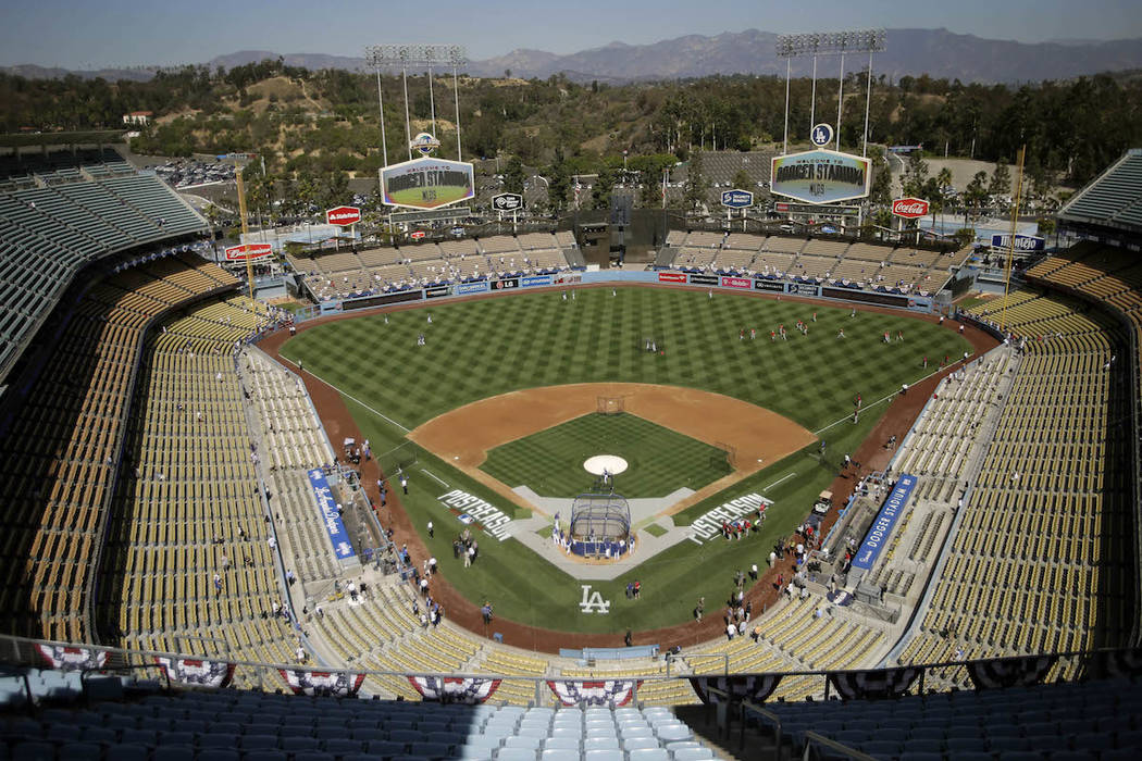 A file photo of Dodger Stadium in Los Angeles, California. (AP Photo/Alex Gallardo, File)