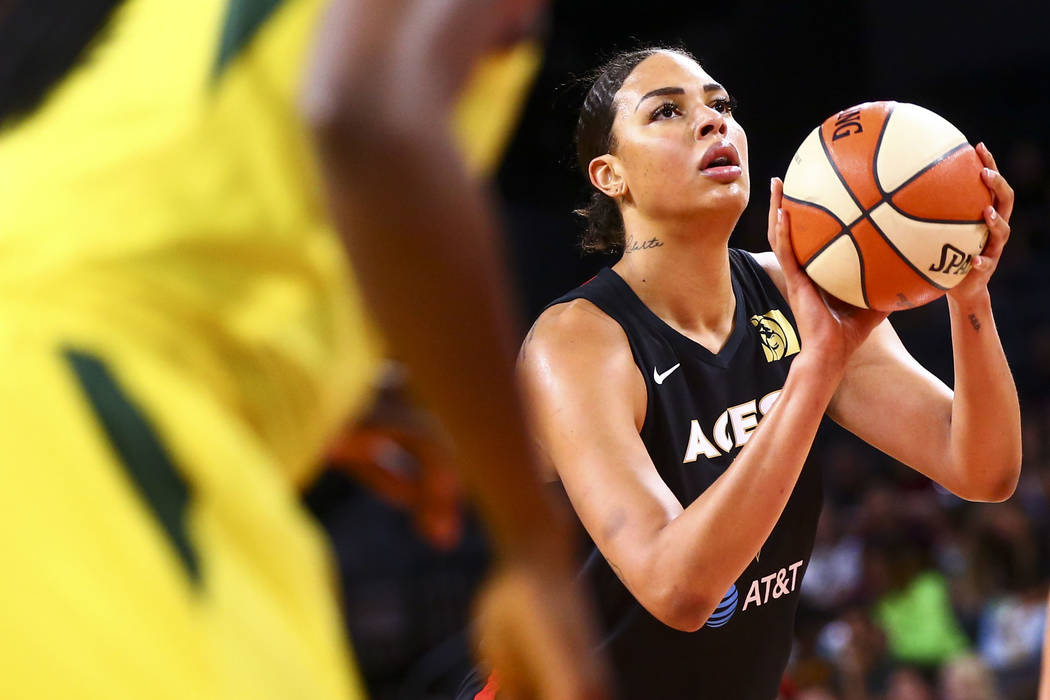 Las Vegas Aces' Liz Cambage looks to shoot a free throw against the Seattle Storm during the fi ...