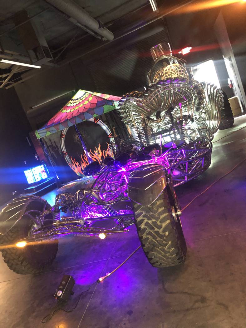 Las Vegas artist Henry Chang's Mister Fusion, one of Chang's skeletal steel cars that have ...