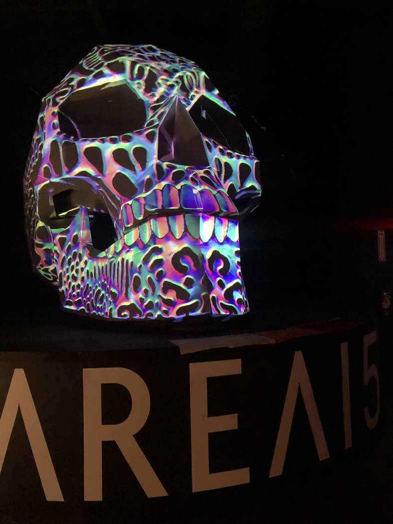 The 3D-LED Shogyo Mujo skull from Bart Kresa Studio, which stands 12 feet tall, is featured at ...