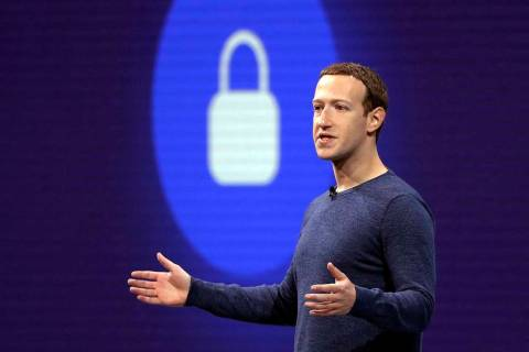In a May 1, 2018, file photo, Facebook CEO Mark Zuckerberg delivers the keynote speech at F8, F ...