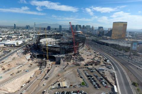 Aerial view of the Las Vegas Raiders stadium under construction as seen on Friday, March 15, 20 ...