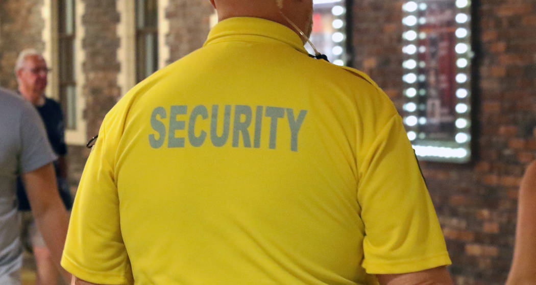 A security guard patrols at the MGM Grand on Wednesday, July 24, 2019, in Las Vegas. (Bizuayehu ...