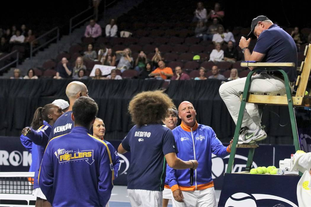 Redfoo is shown in spirited discourse with New York Empire head coach Luke Jensen at the Vegas ...